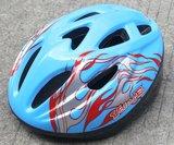 Volare Fiets-Skatehelm Deluxe Blauw rode Vlammen_