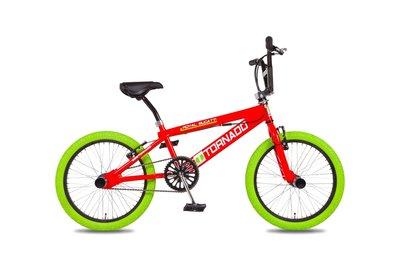 Tornado Freestyle bike lux rood (groene banden)