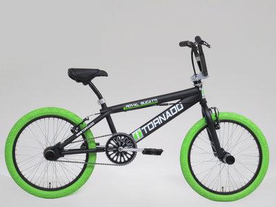 Tornado Freestyle bike lux mat zwart (limegroene banden)