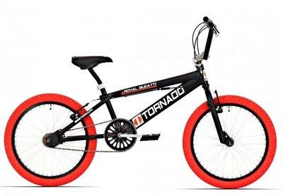 Tornado Freestyle bike lux mat zwart (rode banden)