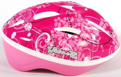 Volare Fiets-Skatehelm Deluxe Roze Bloemen