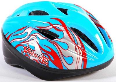 Volare Fiets-Skatehelm Deluxe Blauw rode Vlammen